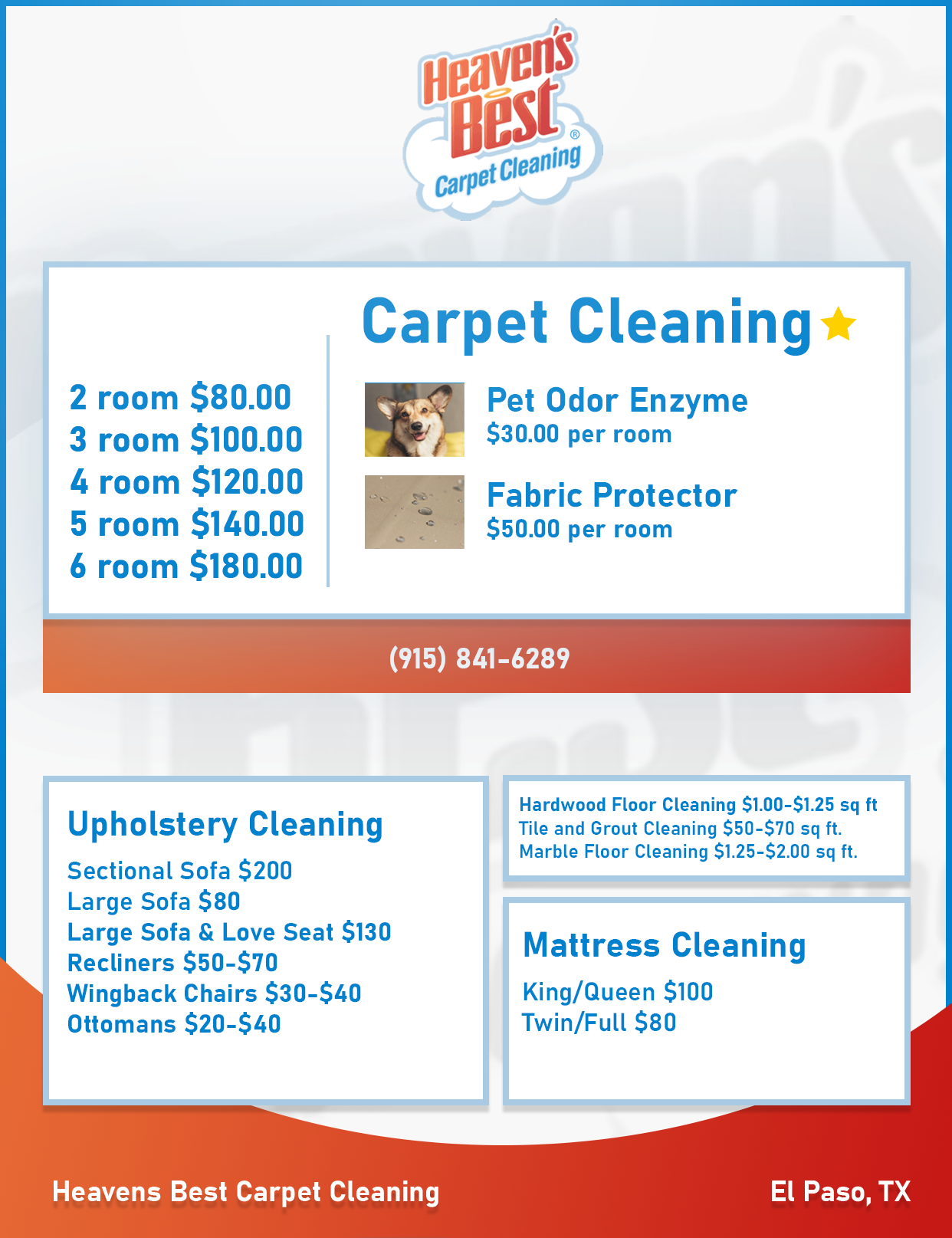 Heaven's Best Carpet Cleaning Pricing Sheet and Coupons
